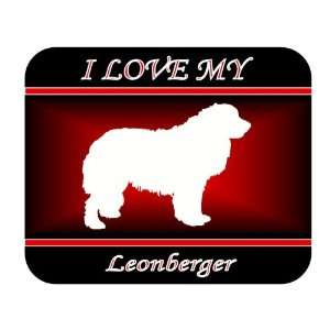 I Love My Leonberger Dog Mouse Pad   Red Design