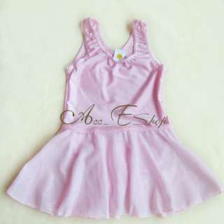 Pink Girls Fairy Ballet Dance Leotard Chiffon Tutu Skate Dress Skirt