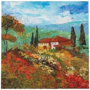 Reverse Hand Painted Tuscan Scene 24 Square Wall Art