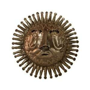 Global Crafts HCCAJ133 534004 Haitian Metal Sun Face Wall Hanging  Oil