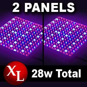 LED Two 14 Watt Hydroponic Plant Hydro Grow Light Panels14w Quad Band