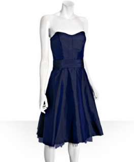 Nicole Miller midnight silk dupioni strapless tulle detail dress