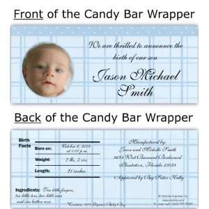 Blue Gingham Photo Candy Wrapper Baby