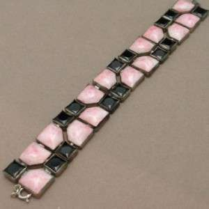 Art Deco Bracelet with Pink and Black Glass Vintage