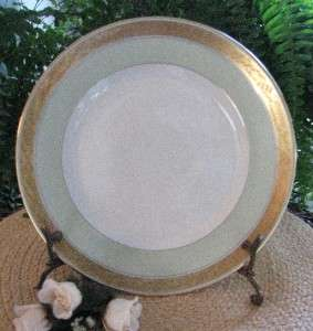 Royal Copenhagen Denmark Art Deco c1930 DAGMAR Green+Gold Lunch Plate8