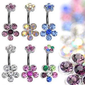Lot of 6 DOUBLE 6 GEM FLOWER BELLY RINGS WHOLESALE C56