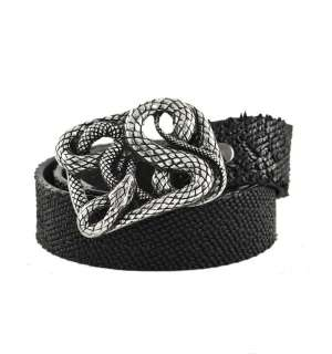 Rocker Textured Italian Leather Belt with Heavy Metal Snake Buckle