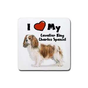 Love My Cavalier King Charles Spaniel Rubber Square Coaster (4 pack