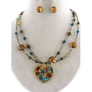 Metal Heart Murano Glass Necklace and Earrings Set