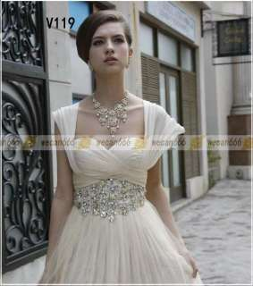 White/Ivory Wedding Dress Evening Gown Chiffon Rhinestone Cap Sleeve