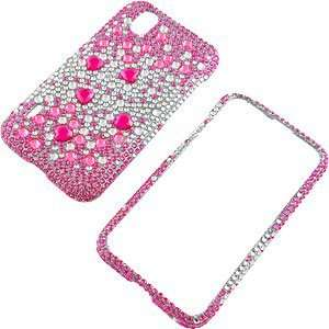 Protector Case for LG Marquee LS855, Hot Pink Silver Gems Full Diamond