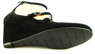 VIA SPIGA TAWNY Black Suede Womens Shoes Wedges 10 M