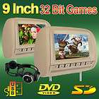 Beige/Tan Dual 9 Headrests Car DVD Players Wide Screen Monitor+IR