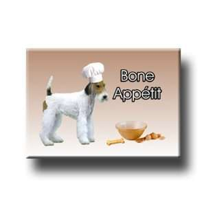 Wire Fox Terrier Bone Appetit Chef Fridge Magnet
