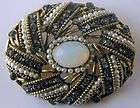 Hollycraft Large Sapphire Blue Rhinestone Pearl Glass Opal Brooch Pin