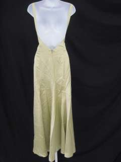 NICOLE MILLER Green Silk Sleeveless Long Dress Gown 4
