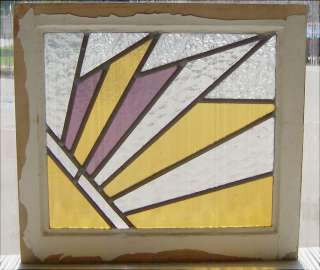 Antique Stained Glass Window Art Deco Sun Burst