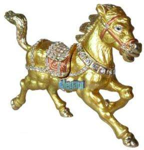 Gold Horse Crystals Jewellery Jewelry Trinket Ring Box