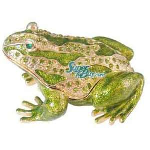 Green Frog   Swarovski Crystal Jewelry Trinket Box (JF8659)