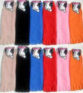 LOTS 12 PAIRS LADIES MENS Fuzzy Fleece Toe Socks SOLID