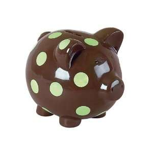 Elegant Baby Chocolate w/ green polka dots pig bank Baby