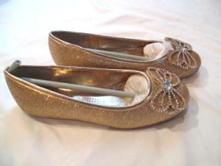 PLATINO GOLD GLITTER RIZZA KID BALLET FLAT SHOES SZ 3 YOUTH