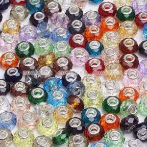 100p LOT Mix Crystal Glass Big Hole Beads Fit Bracelet