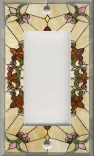 Light Switch Plate Cover   Art Nouveau   Stained Glass Pattern 01
