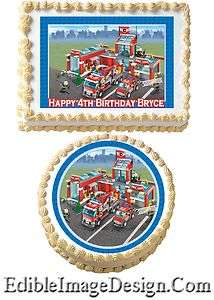 TRUCK CITY Edible Party Birthday Cake Image Cupcake Topper lego