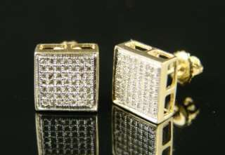 MENS/LADIES EXT BEZEL DIAMOND PAVE 9 MM STUD EARRINGS