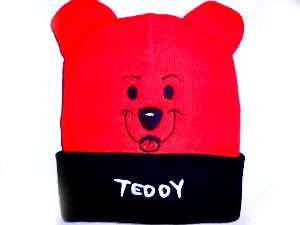 TODDLER KIDS RED BLACK TEDDY BEAR NET BEANIE HAT CAP