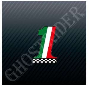 Italy Italian #1 Flag Racing Racer Track Speedway Car Trucks Sticker