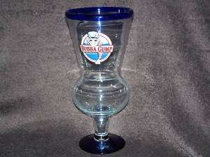 Bubba Gump Hollywood Restaurant Glass Cup Cobalt Blue Trim Free US
