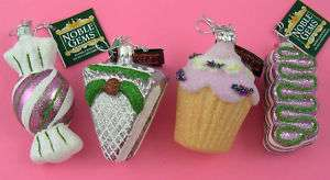 CANDY & CUPCAKES Pink Retro Noble Gems GLASS Ornaments