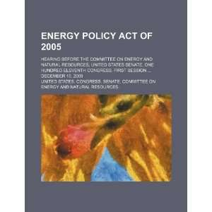 Energy and Natural Resources, United States Senate, One Hundred