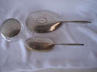 Vintage Sterling Silver Vanity Set Art Deco/Nouveau Style Mirror/Brush