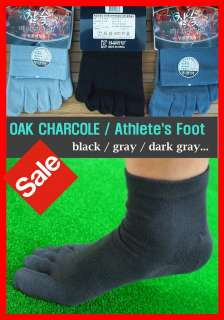 10PARS Fine CHARCOAL ATHLETES FOOT Mens Five Toe Socks