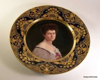 Antique Royal Vienna Portrait Plate Jeweled Gilt Border Charlotte v