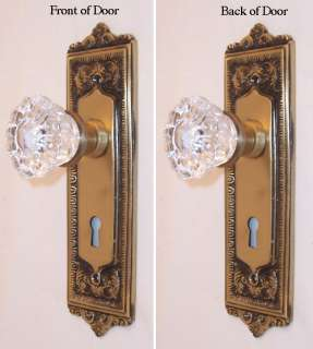 Egg&Dart Solid Brass/Crystal Glass French Door Knob Set