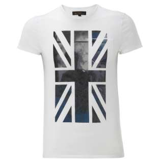 Mens Ben Sherman T Shirt Union Jack Graphic Crew Neck White