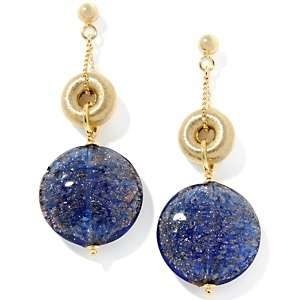 Murano Glass Blue Disc Drop Earrings