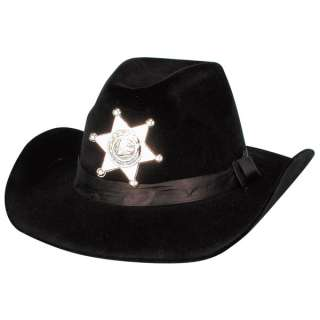Adult Flocked Black Sheriff Cowboy Hat   Cowboy Costume Accessories