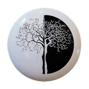 Modern Black and White Tree Ceramic Knobs Pull Kitchen Drawer Cabinet