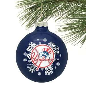 New York Yankees Navy Blue Snowflake Glass Ornament