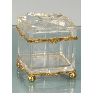 24% Lead Italian Crystal Trinket / Jewelry Box with Lid