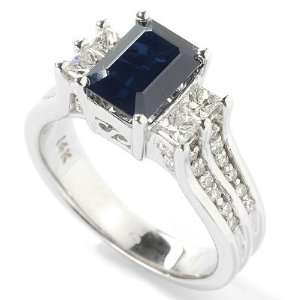 14K White Gold Sapphire & Diamond Ring Jewelry