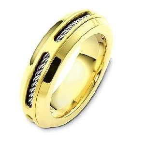Karat Two Tone Gold Inner Rope Style Unique Wedding Band Ring   6.25