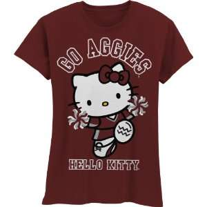 NCAA Texas A&M Aggies Hello Kitty Pom Pom Girls Crew Tee Shirt