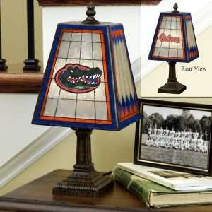 FLORIDA GATORS 14 IN ART GLASS TABLE LAMP