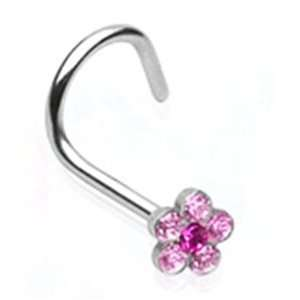 Steel Nose Ring Screw Piercing Jewelry with Pink Gem Flower 18 Gauge